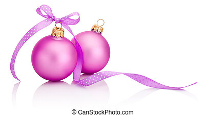 Two pink Christmas ball with ribbon bow Isolated on white...