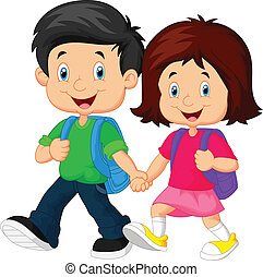 Boy and girl with backpacks - vector illustration of Boy and...