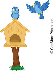Birds and bird houses - vector illustration of Birds and...