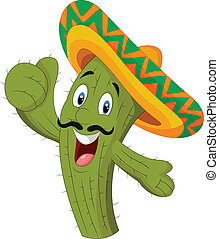 Happy cactus giving thumb up - vector illustration of Happy...
