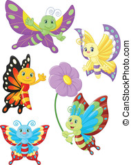 Cute butterfly cartoon collection s - vector illustratin of...