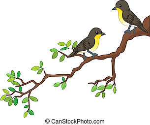 Two song birds on spring branch - vector illustratin of Two...