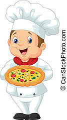 Chef holding pizza