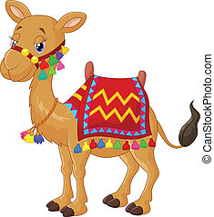 Cartoon decorated camel - vector illustration of Cartoon...