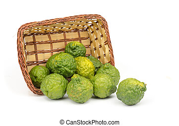 Bergamot - Image of bergamot in bamboo woven tray on white...