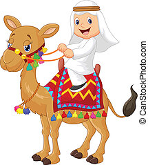 Arab boy riding camel - vector illustration of Arab boy...