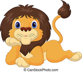 Cute cartoon lion relaxing - vector illustration of Cute...