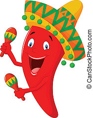 Chili cartoon playing maracas - vector illustration of Chili...