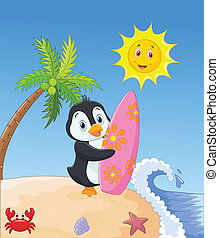 Happy penguin cartoon holding surfb - vector illustration of...