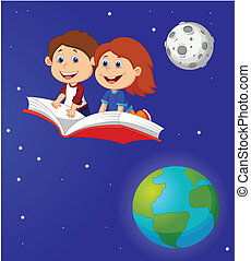 Boy and girl flying on a book - vector illustration of Boy...