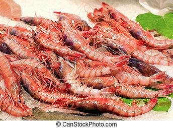 Fresh shrimps in market