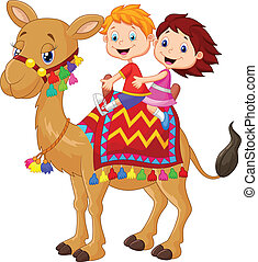 Little kid riding decorated camel - vector illustration of...