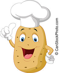 Potato chef cartoon giving thumb up - vector illustration of...