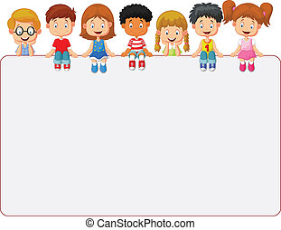 Happy smiling group of kids showing - vector illustration of...