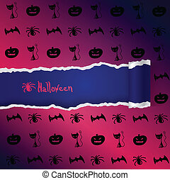 Purple background with pattern of Halloween characters