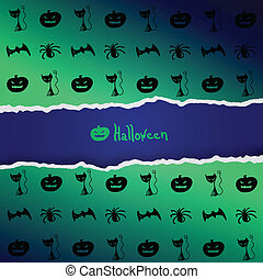 Green background with pattern of Halloween characters