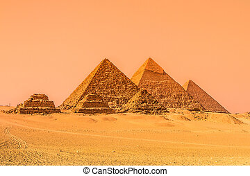 The pyramids of Giza, Cairo, Egypt. Oldest of the Seven...