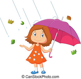 Girl with umbrella - vector illustration of Girl with...