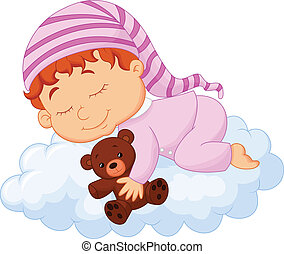 Baby sleeping on the cloud - vector illustration of Baby...