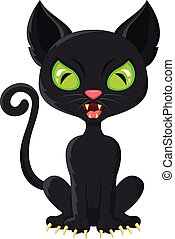 cartoon black cat - vector illustration of cartoon black cat
