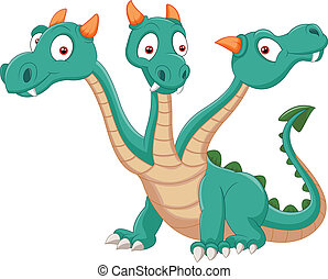 Cute three headed dragon - vector illustration of Cute three...