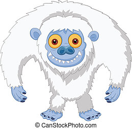 Smiling cartoon yeti - vector illustration of Smiling...