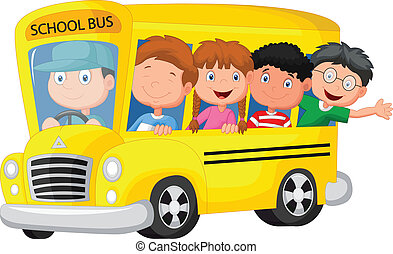 School Bus With Happy Children - vector illustration of...