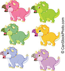 Cartoon triceratops in different co - vector illustration of...