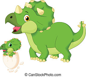 Mother triceratops with baby hatchi - vector illustration of...