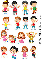 happy kid cartoon collection - vector illustration of happy...