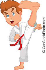 Little boy training karate - vector illustration of Little...