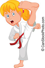 Young girl training karate - vector illustration of Young...