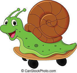 Cartoon snail on skateboard - vector illustration of Cartoon...