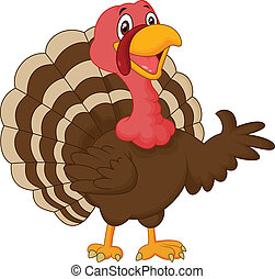 Cartoon turkey presenting - vector illustration of Cartoon...