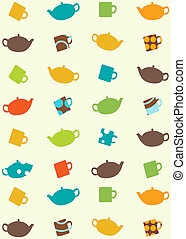 seamless pattern of tea pots and cups