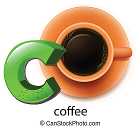 A letter C for coffee - Illustration of a letter C for...