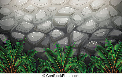 A stonewall with plants - Illustration of a stonewall with...