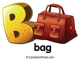A letter B for bag - Illustration of a letter B for bag on a...