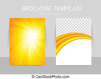 Back and front flyer template design in orange sunny style
