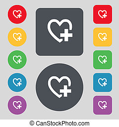Medical heart sign icon. Cross symbol. Set colourful buttons. Vector