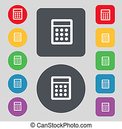 Calculator sign icon Bookkeeping symbol Set colour buttons...
