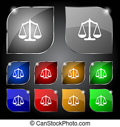 Scales of Justice sign icon Court law symbol Set colourful...