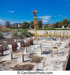 Construction site. Building foundation. - Construction site....