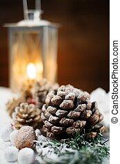 navidad, todavía, vida, conos, linterna, nieve