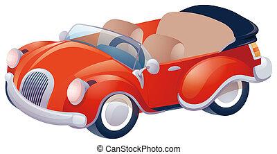Red Car - Closeup of a red classic convertible sports car