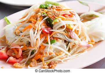 crab Som Tum - Papaya Spicy Salad on White Dish