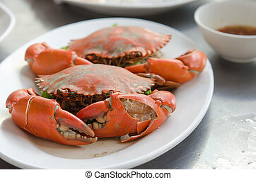 steamed crabs - Steamed crab thai food on plate