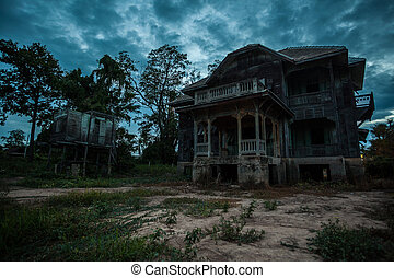 abandoned old house - abandoned wood old house on twilight