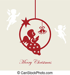 Christmas card, Merry christmas, angel, vector, illustration