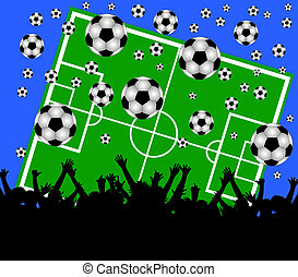 soccer field and fans on blue background - illustration of a...